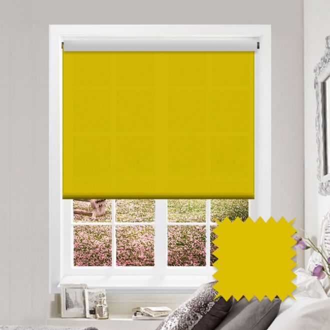 Yellow Roller Blind - Astral Solar Plain - Just Blinds